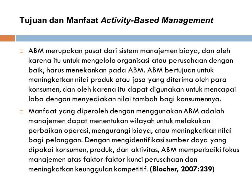 Tujuan dan Manfaat Activity-Based Management  ABM merupakan pusat dari sistem manajemen biaya, dan oleh karena itu untuk mengelola organisasi atau perusahaan dengan baik, harus menekankan pada ABM.