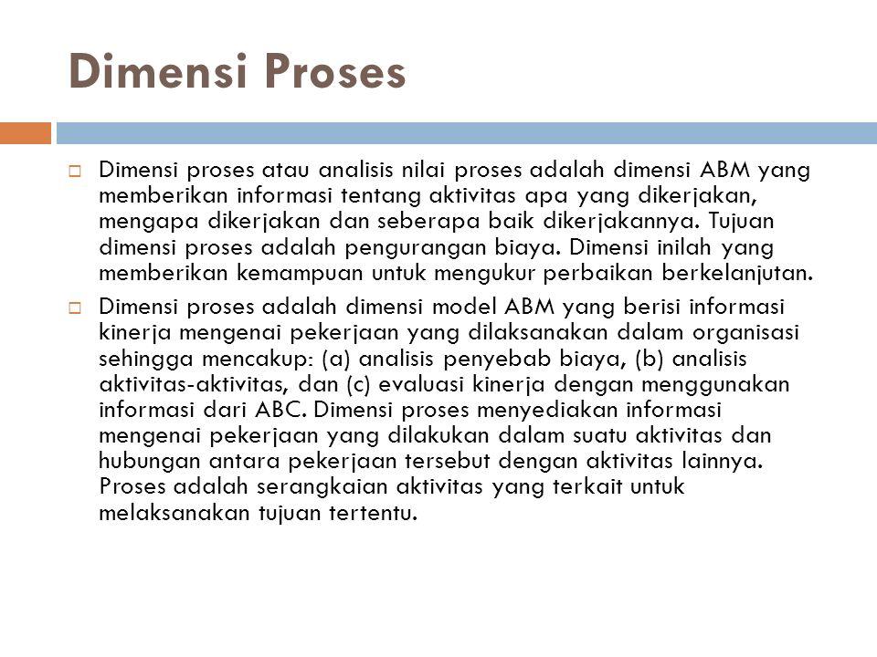 Dimensi Proses  Dimensi proses atau analisis nilai proses adalah dimensi ABM yang memberikan informasi tentang aktivitas apa yang dikerjakan, mengapa dikerjakan dan seberapa baik dikerjakannya.