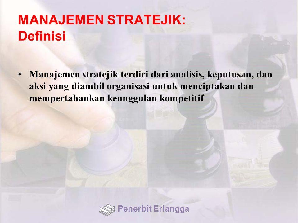 MANAJEMEN STRATEJIK: Definisi Manajemen stratejik terdiri dari analisis, keputusan, dan aksi yang diambil organisasi untuk menciptakan dan mempertahankan keunggulan kompetitif Penerbit Erlangga