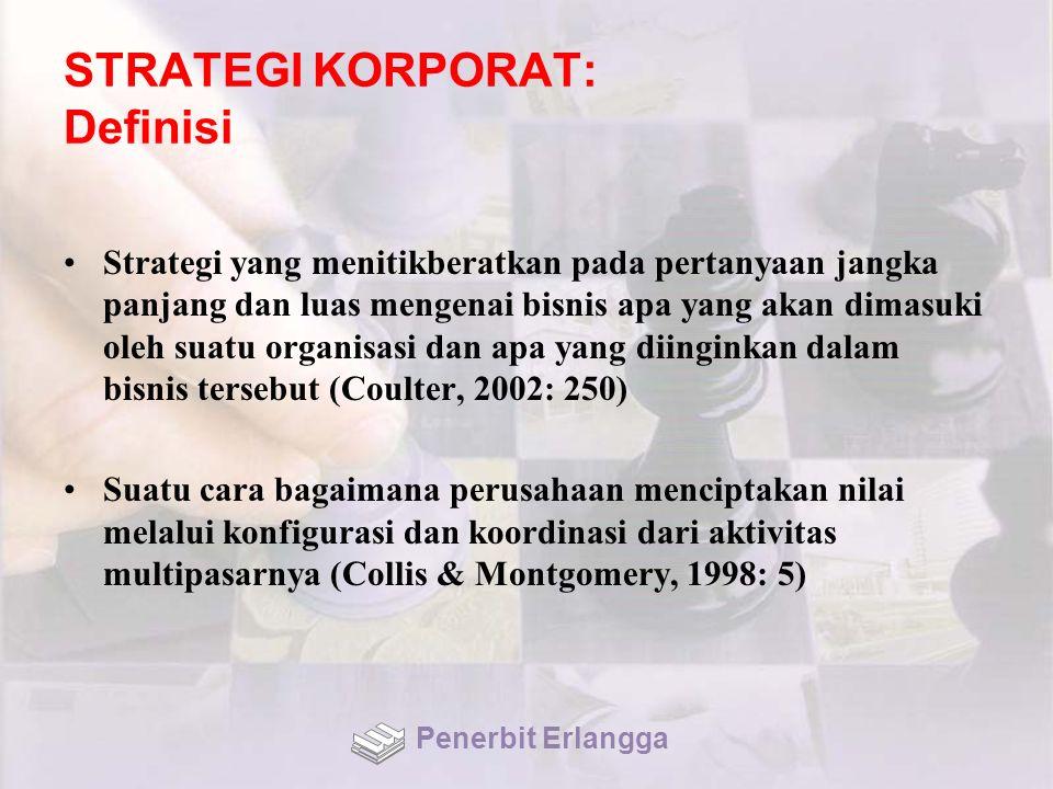 STRATEGI KORPORAT: Definisi Strategi yang menitikberatkan pada pertanyaan jangka panjang dan luas mengenai bisnis apa yang akan dimasuki oleh suatu or