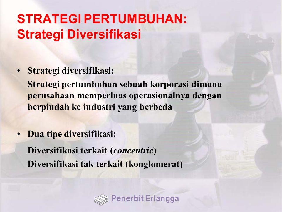 STRATEGI PERTUMBUHAN: Strategi Diversifikasi Strategi diversifikasi: Strategi pertumbuhan sebuah korporasi dimana perusahaan memperluas operasionalnya dengan berpindah ke industri yang berbeda Dua tipe diversifikasi: Diversifikasi terkait (concentric) Diversifikasi tak terkait (konglomerat) Penerbit Erlangga