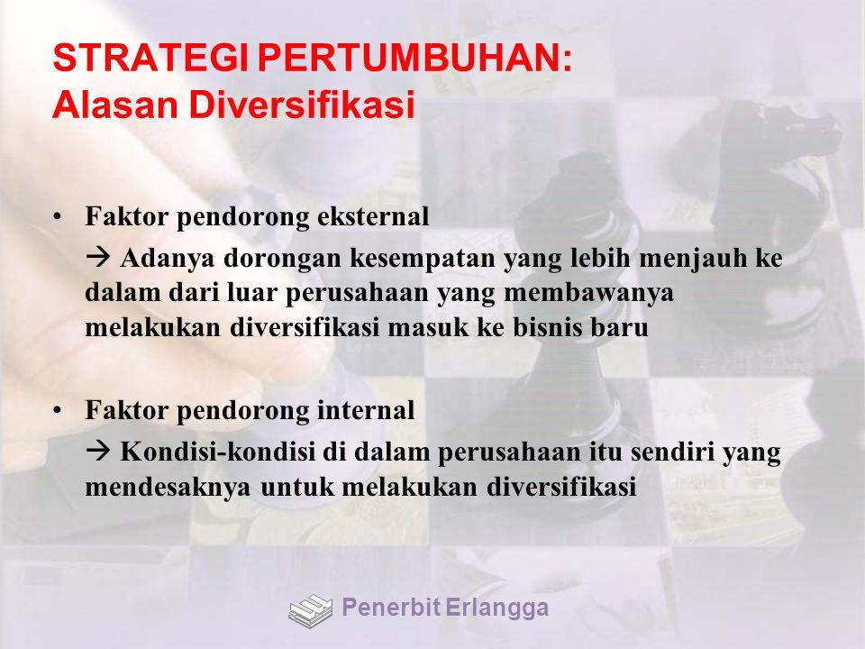 STRATEGI PERTUMBUHAN: Alasan Diversifikasi Faktor pendorong eksternal  Adanya dorongan kesempatan yang lebih menjauh ke dalam dari luar perusahaan ya