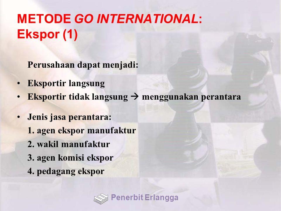 METODE GO INTERNATIONAL: Ekspor (1) Perusahaan dapat menjadi: Eksportir langsung Eksportir tidak langsung  menggunakan perantara Jenis jasa perantara: 1.