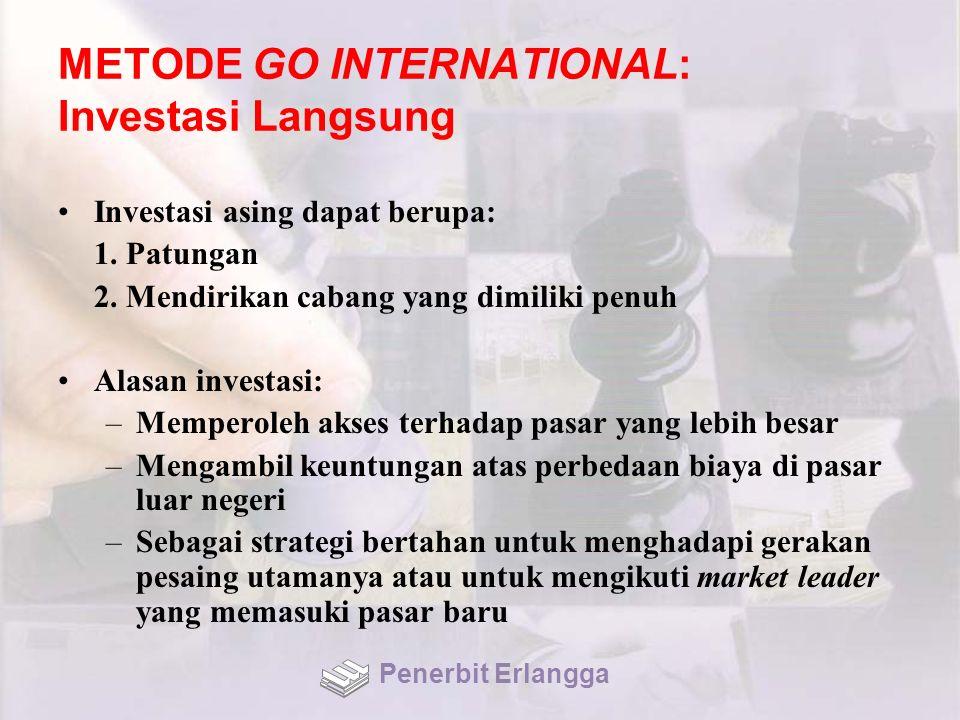 METODE GO INTERNATIONAL: Investasi Langsung Investasi asing dapat berupa: 1.