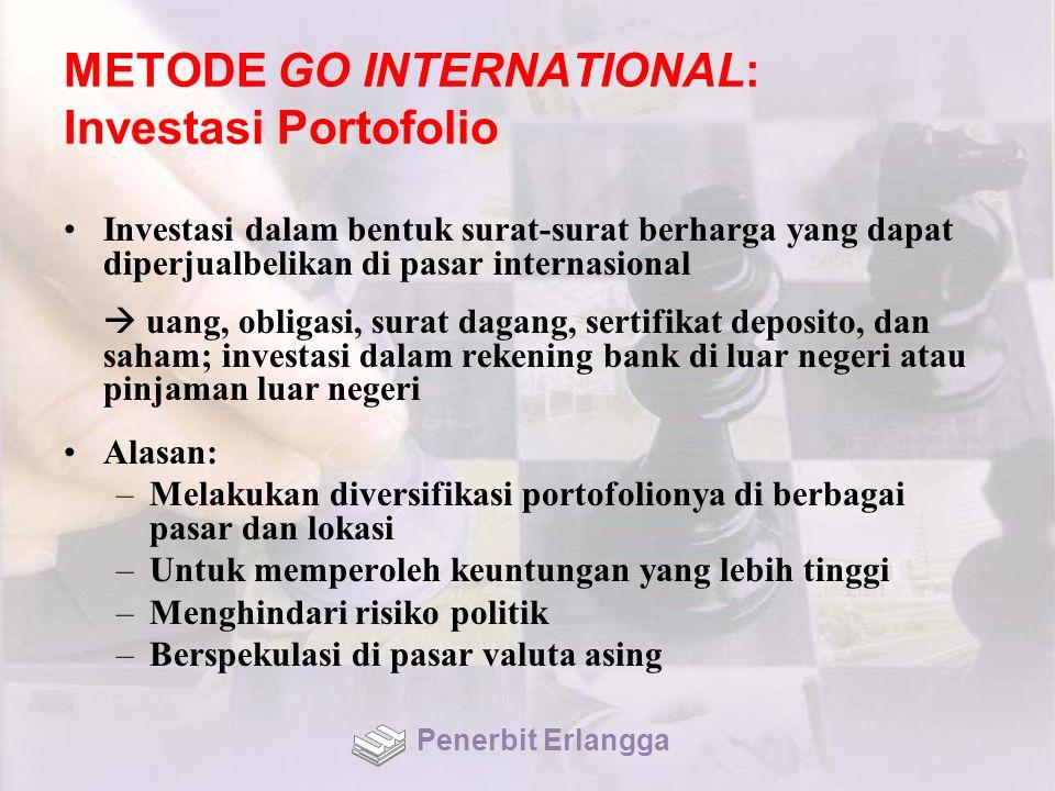 METODE GO INTERNATIONAL: Investasi Portofolio Investasi dalam bentuk surat-surat berharga yang dapat diperjualbelikan di pasar internasional  uang, o