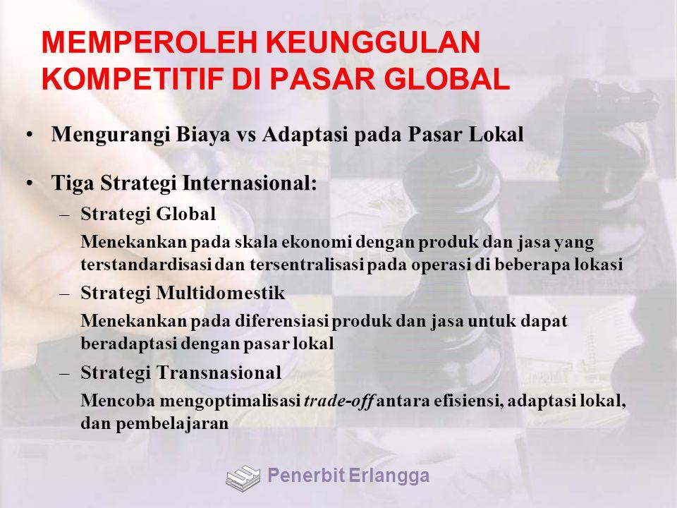 MEMPEROLEH KEUNGGULAN KOMPETITIF DI PASAR GLOBAL Mengurangi Biaya vs Adaptasi pada Pasar Lokal Tiga Strategi Internasional: –Strategi Global Menekanka