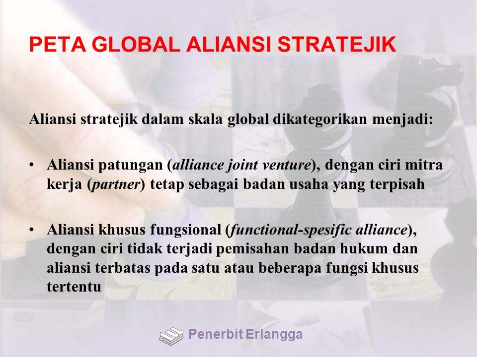 PETA GLOBAL ALIANSI STRATEJIK Aliansi stratejik dalam skala global dikategorikan menjadi: Aliansi patungan (alliance joint venture), dengan ciri mitra