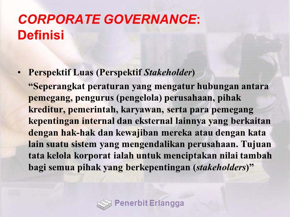"""CORPORATE GOVERNANCE: Definisi Perspektif Luas (Perspektif Stakeholder) """"Seperangkat peraturan yang mengatur hubungan antara pemegang, pengurus (penge"""