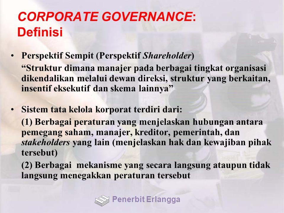 """CORPORATE GOVERNANCE: Definisi Perspektif Sempit (Perspektif Shareholder) """"Struktur dimana manajer pada berbagai tingkat organisasi dikendalikan melal"""