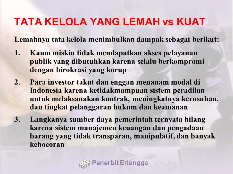 TATA KELOLA YANG LEMAH vs KUAT Lemahnya tata kelola menimbulkan dampak sebagai berikut: 1.Kaum miskin tidak mendapatkan akses pelayanan publik yang dibutuhkan karena selalu berkompromi dengan birokrasi yang korup 2.Para investor takut dan enggan menanam modal di Indonesia karena ketidakmampuan sistem peradilan untuk melaksanakan kontrak, meningkatnya kerusuhan, dan tingkat pelanggaran hukum dan keamanan 3.