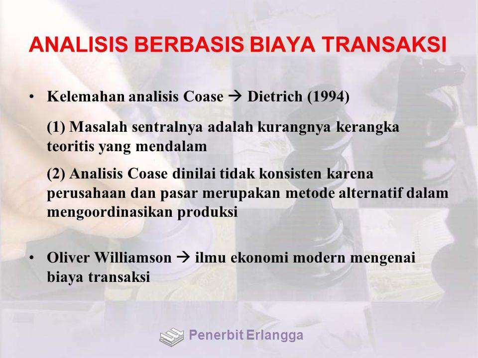 ANALISIS BERBASIS BIAYA TRANSAKSI Kelemahan analisis Coase  Dietrich (1994) (1) Masalah sentralnya adalah kurangnya kerangka teoritis yang mendalam (