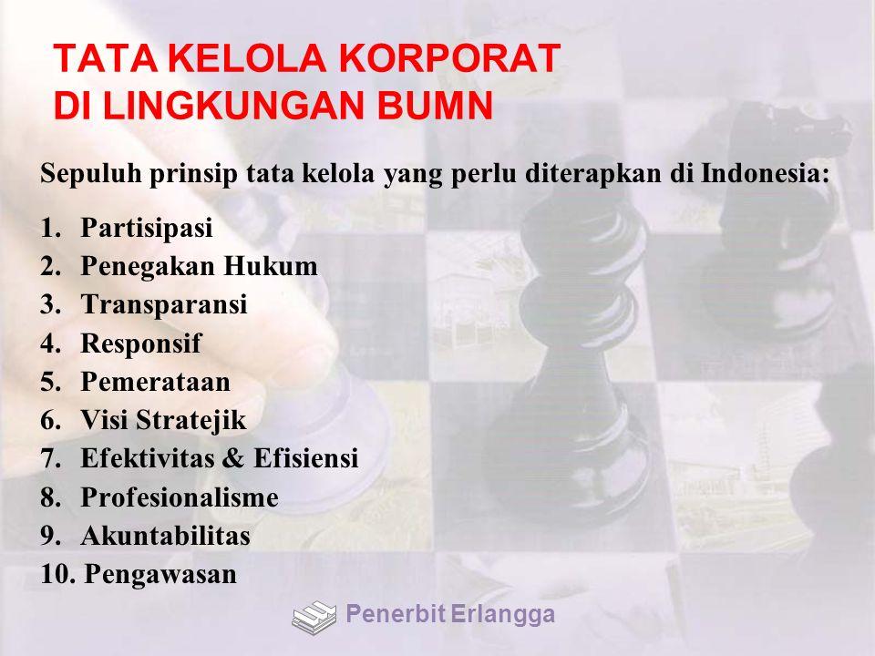 TATA KELOLA KORPORAT DI LINGKUNGAN BUMN Sepuluh prinsip tata kelola yang perlu diterapkan di Indonesia: 1. Partisipasi 2. Penegakan Hukum 3. Transpara