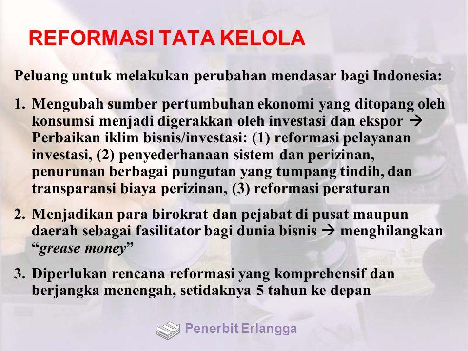 REFORMASI TATA KELOLA Peluang untuk melakukan perubahan mendasar bagi Indonesia: 1.Mengubah sumber pertumbuhan ekonomi yang ditopang oleh konsumsi menjadi digerakkan oleh investasi dan ekspor  Perbaikan iklim bisnis/investasi: (1) reformasi pelayanan investasi, (2) penyederhanaan sistem dan perizinan, penurunan berbagai pungutan yang tumpang tindih, dan transparansi biaya perizinan, (3) reformasi peraturan 2.Menjadikan para birokrat dan pejabat di pusat maupun daerah sebagai fasilitator bagi dunia bisnis  menghilangkan grease money 3.Diperlukan rencana reformasi yang komprehensif dan berjangka menengah, setidaknya 5 tahun ke depan Penerbit Erlangga