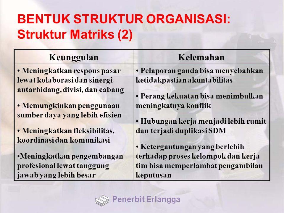 BENTUK STRUKTUR ORGANISASI: Struktur Matriks (2) KeunggulanKelemahan Meningkatkan respons pasar lewat kolaborasi dan sinergi antarbidang, divisi, dan