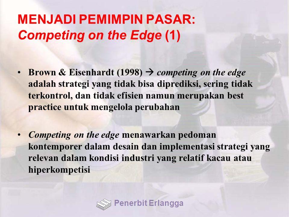 MENJADI PEMIMPIN PASAR: Competing on the Edge (1) Brown & Eisenhardt (1998)  competing on the edge adalah strategi yang tidak bisa diprediksi, sering