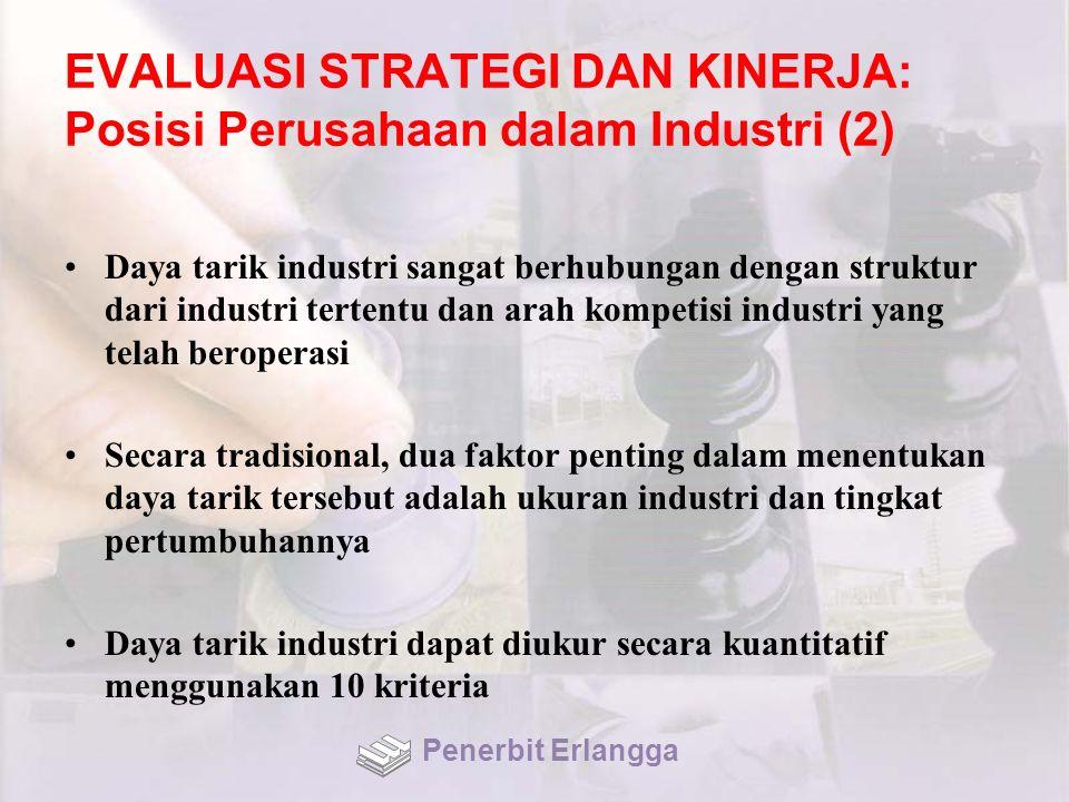 EVALUASI STRATEGI DAN KINERJA: Posisi Perusahaan dalam Industri (2) Daya tarik industri sangat berhubungan dengan struktur dari industri tertentu dan