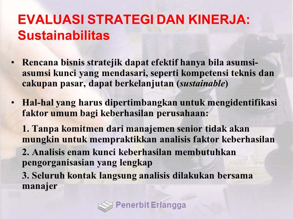 EVALUASI STRATEGI DAN KINERJA: Sustainabilitas Rencana bisnis stratejik dapat efektif hanya bila asumsi- asumsi kunci yang mendasari, seperti kompeten