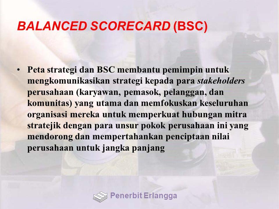 BALANCED SCORECARD (BSC) Peta strategi dan BSC membantu pemimpin untuk mengkomunikasikan strategi kepada para stakeholders perusahaan (karyawan, pemas