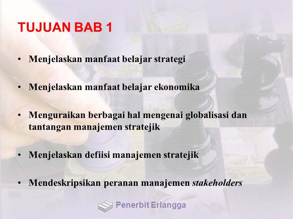 TUJUAN BAB 1 Menjelaskan manfaat belajar strategi Menjelaskan manfaat belajar ekonomika Menguraikan berbagai hal mengenai globalisasi dan tantangan ma