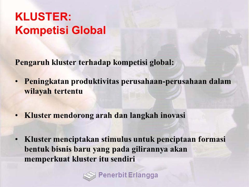 KLUSTER: Kompetisi Global Pengaruh kluster terhadap kompetisi global: Peningkatan produktivitas perusahaan-perusahaan dalam wilayah tertentu Kluster mendorong arah dan langkah inovasi Kluster menciptakan stimulus untuk penciptaan formasi bentuk bisnis baru yang pada gilirannya akan memperkuat kluster itu sendiri Penerbit Erlangga
