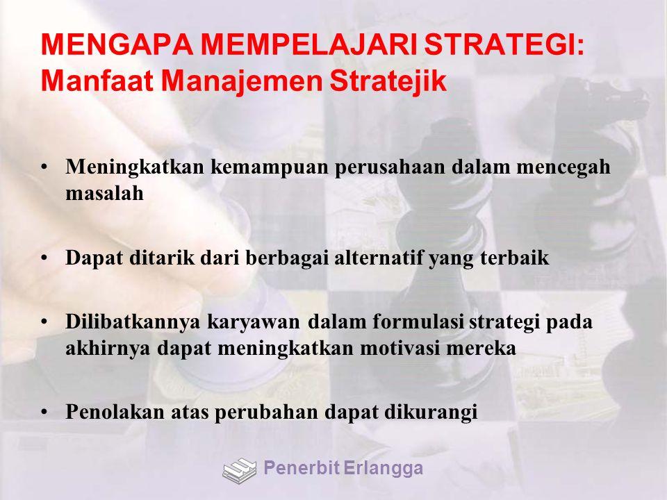MENGAPA MEMPELAJARI STRATEGI: Manfaat Manajemen Stratejik Meningkatkan kemampuan perusahaan dalam mencegah masalah Dapat ditarik dari berbagai alterna