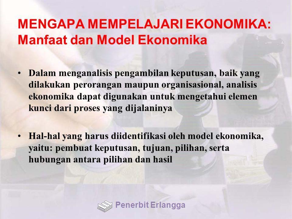 MENGAPA MEMPELAJARI EKONOMIKA: Manfaat dan Model Ekonomika Dalam menganalisis pengambilan keputusan, baik yang dilakukan perorangan maupun organisasio