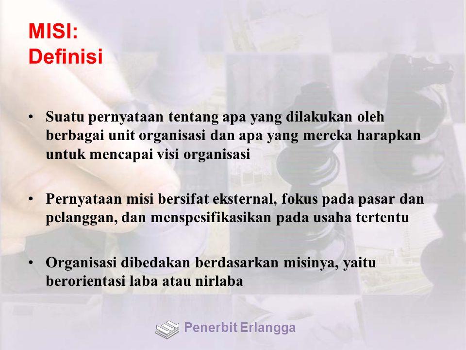MISI: Definisi Suatu pernyataan tentang apa yang dilakukan oleh berbagai unit organisasi dan apa yang mereka harapkan untuk mencapai visi organisasi P