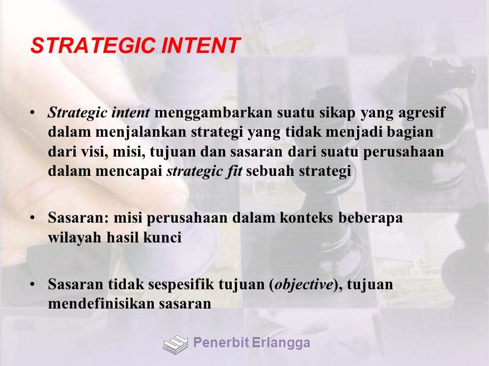 STRATEGIC INTENT Strategic intent menggambarkan suatu sikap yang agresif dalam menjalankan strategi yang tidak menjadi bagian dari visi, misi, tujuan dan sasaran dari suatu perusahaan dalam mencapai strategic fit sebuah strategi Sasaran: misi perusahaan dalam konteks beberapa wilayah hasil kunci Sasaran tidak sespesifik tujuan (objective), tujuan mendefinisikan sasaran Penerbit Erlangga