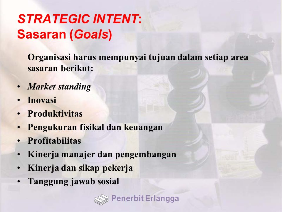 STRATEGIC INTENT: Sasaran (Goals) Organisasi harus mempunyai tujuan dalam setiap area sasaran berikut: Market standing Inovasi Produktivitas Pengukuran fisikal dan keuangan Profitabilitas Kinerja manajer dan pengembangan Kinerja dan sikap pekerja Tanggung jawab sosial Penerbit Erlangga
