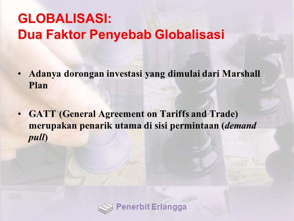 GLOBALISASI: Dua Faktor Penyebab Globalisasi Adanya dorongan investasi yang dimulai dari Marshall Plan GATT (General Agreement on Tariffs and Trade) merupakan penarik utama di sisi permintaan (demand pull) Penerbit Erlangga