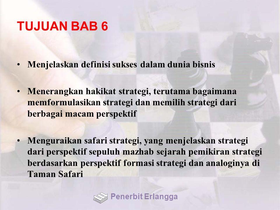TUJUAN BAB 6 Menjelaskan definisi sukses dalam dunia bisnis Menerangkan hakikat strategi, terutama bagaimana memformulasikan strategi dan memilih stra