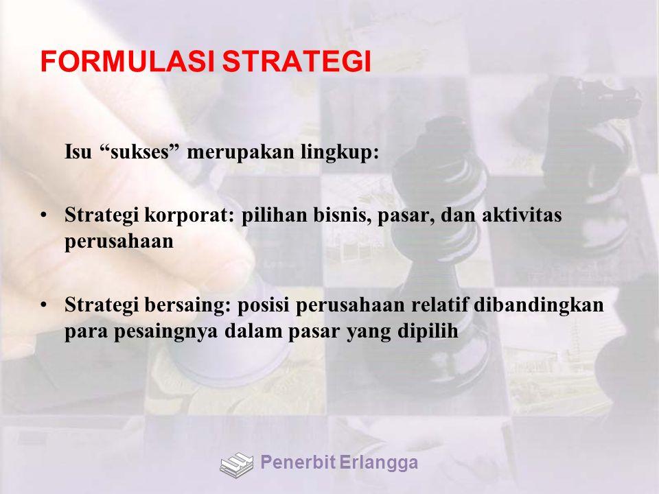FORMULASI STRATEGI Isu sukses merupakan lingkup: Strategi korporat: pilihan bisnis, pasar, dan aktivitas perusahaan Strategi bersaing: posisi perusahaan relatif dibandingkan para pesaingnya dalam pasar yang dipilih Penerbit Erlangga