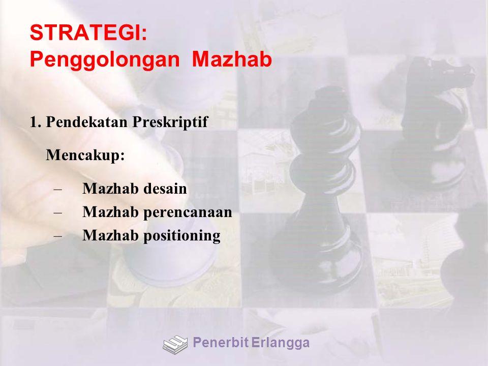 STRATEGI: Penggolongan Mazhab 1. Pendekatan Preskriptif Mencakup: –Mazhab desain –Mazhab perencanaan –Mazhab positioning Penerbit Erlangga