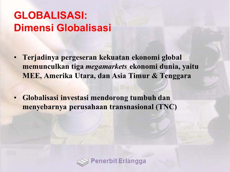 GLOBALISASI: Dimensi Globalisasi Terjadinya pergeseran kekuatan ekonomi global memunculkan tiga megamarkets ekonomi dunia, yaitu MEE, Amerika Utara, d
