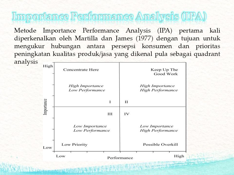 Metode Importance Performance Analysis (IPA) pertama kali diperkenalkan oleh Martilla dan James (1977) dengan tujuan untuk mengukur hubungan antara persepsi konsumen dan prioritas peningkatan kualitas produk/jasa yang dikenal pula sebagai quadrant analysis