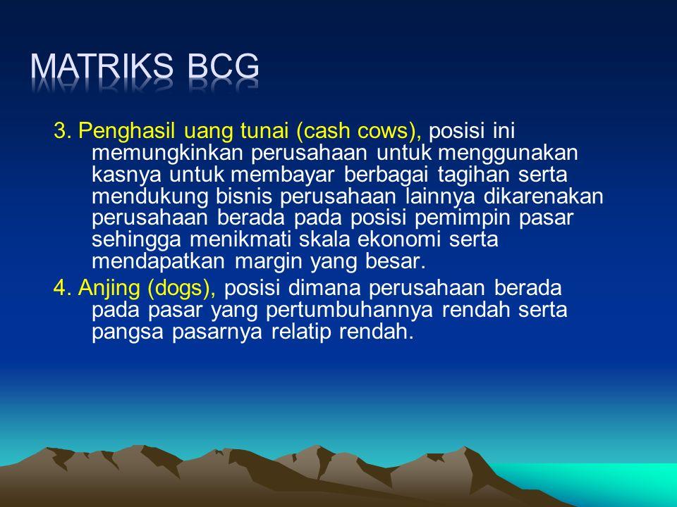 3. Penghasil uang tunai (cash cows), posisi ini memungkinkan perusahaan untuk menggunakan kasnya untuk membayar berbagai tagihan serta mendukung bisni