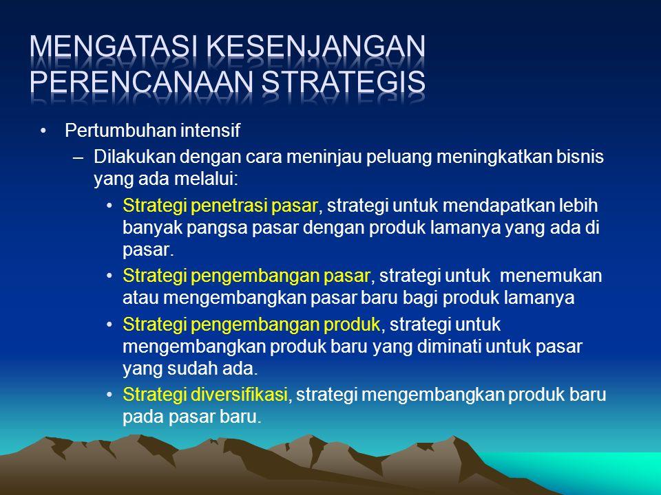 Pertumbuhan intensif –Dilakukan dengan cara meninjau peluang meningkatkan bisnis yang ada melalui: Strategi penetrasi pasar, strategi untuk mendapatkan lebih banyak pangsa pasar dengan produk lamanya yang ada di pasar.