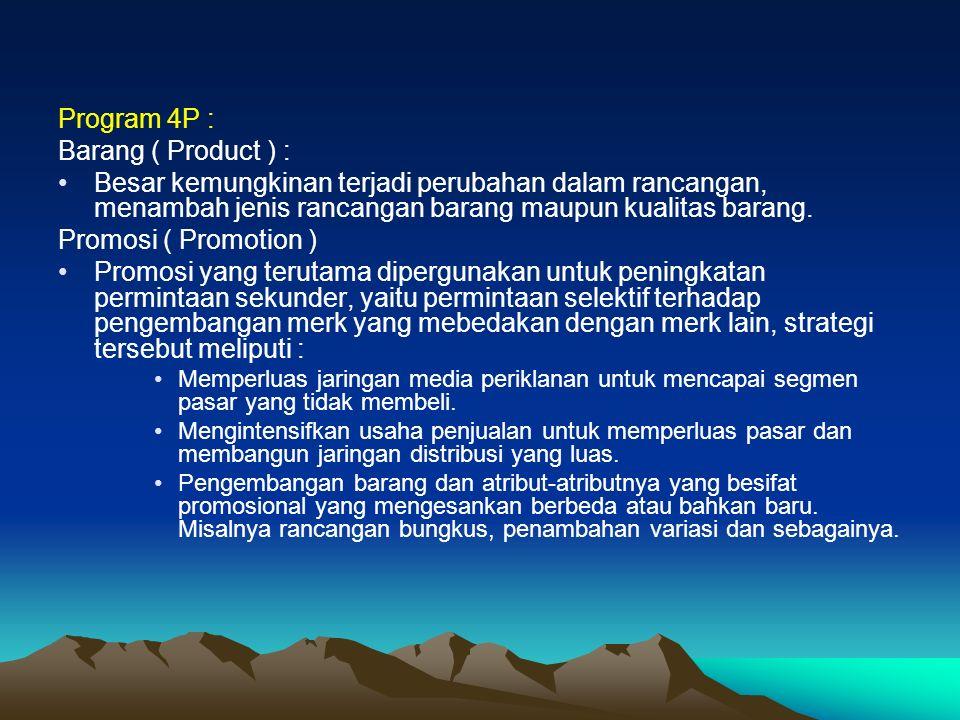 Program 4P : Barang ( Product ) : Besar kemungkinan terjadi perubahan dalam rancangan, menambah jenis rancangan barang maupun kualitas barang.