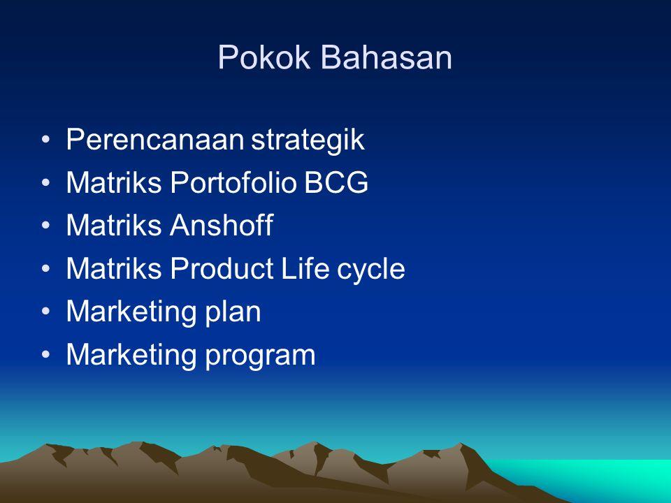 Tiga bidang utama atau area kunci dalam perencanaan strategik yang harus mendapat prioritas oleh pemasar: 1.Mengelola bisnis perusahaan sebagai portofolio investasi 2.Menilai kekuatan setiap bisnis dengan mempertimbangkan tingkat pertumbuhan pasar dan posisi perusahaan 3.Menyesuaikan diri dengan pasar serta menentukan strategi.