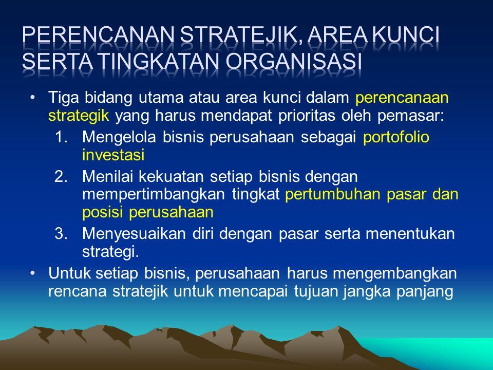 Dapat dibedakan strategi tersebut menjadi tiga : Strategi pemeliharaan Tujuannya adalah untuk mempertahankan tingkat pasar yang telah dikuasai selama ini.