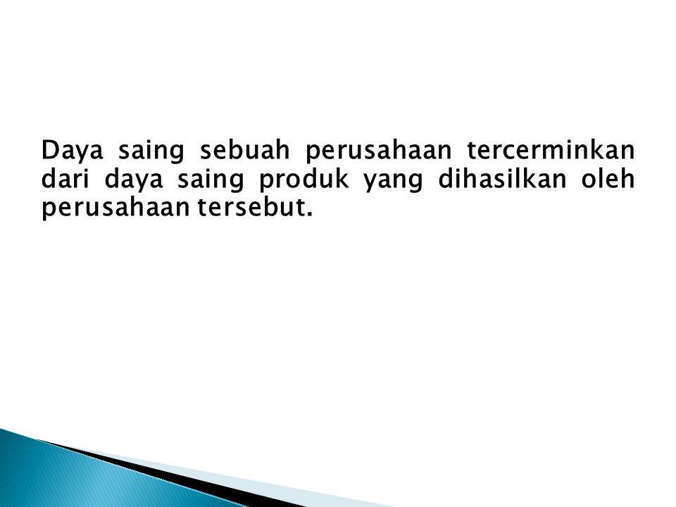 Daya saing sebuah perusahaan tercerminkan dari daya saing produk yang dihasilkan oleh perusahaan tersebut.