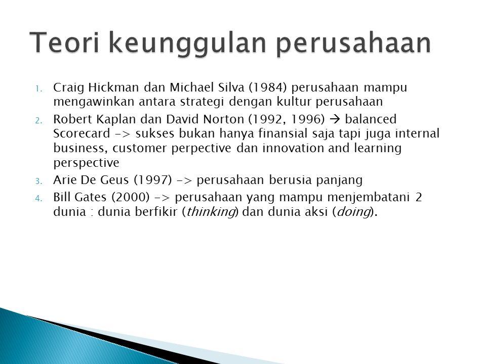 1. Craig Hickman dan Michael Silva (1984) perusahaan mampu mengawinkan antara strategi dengan kultur perusahaan 2. Robert Kaplan dan David Norton (199