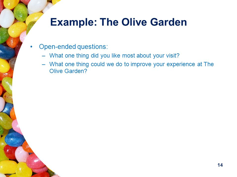 13 Example: The Olive Garden The Lobby –Was the lobby staff friendly and did they welcome you to the restaurant? –Were you seated in a timely, efficie