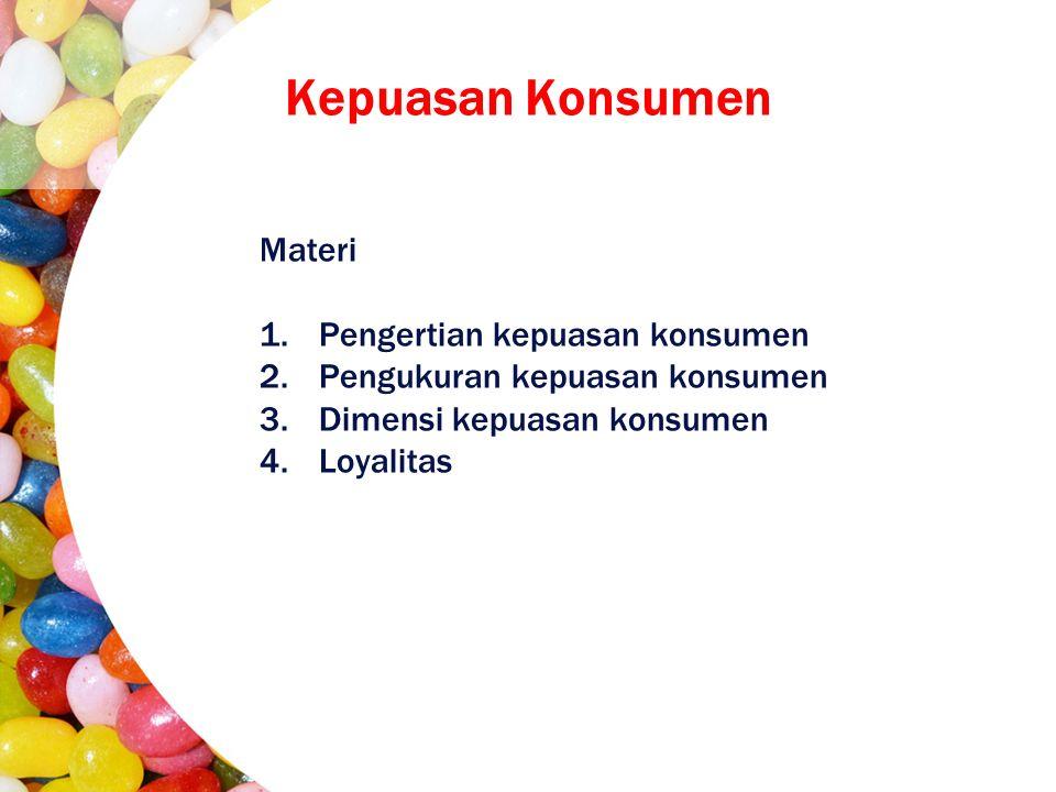Materi 1.Pengertian kepuasan konsumen 2.Pengukuran kepuasan konsumen 3.Dimensi kepuasan konsumen 4.Loyalitas