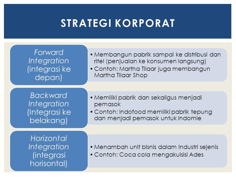 Membangun pabrik sampai ke distribusi dan ritel (penjualan ke konsumen langsung) Contoh: Martha Tilaar juga membangun Martha Tilaar Shop Forward Integration (integrasi ke depan) Memiliki pabrik dan sekaligus menjadi pemasok Contoh: Indofood memiliki pabrik tepung dan menjadi pemasok untuk Indomie Backward Integration (Integrasi ke belakang) Menambah unit bisnis dalam industri sejenis Contoh: Coca cola mengakuisisi Ades Horizontal Integration (integrasi horisontal) STRATEGI KORPORAT