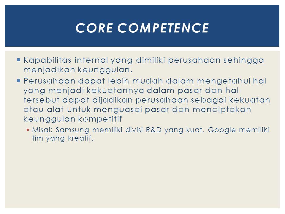  Kapabilitas internal yang dimiliki perusahaan sehingga menjadikan keunggulan.
