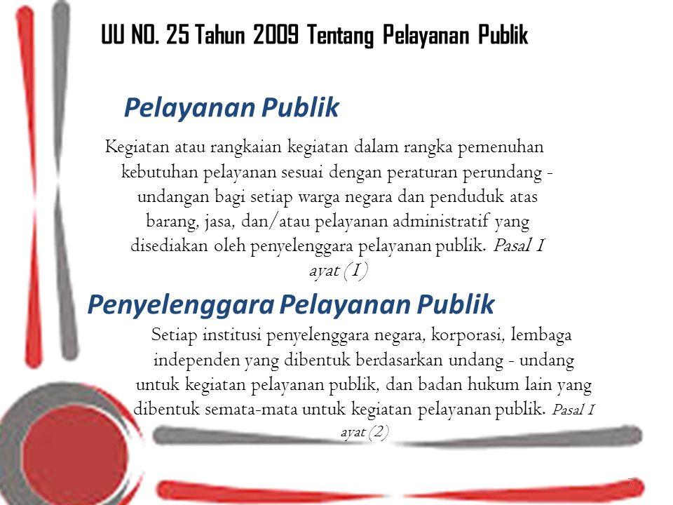 UU NO. 25 Tahun 2009 Tentang Pelayanan Publik Kegiatan atau rangkaian kegiatan dalam rangka pemenuhan kebutuhan pelayanan sesuai dengan peraturan peru