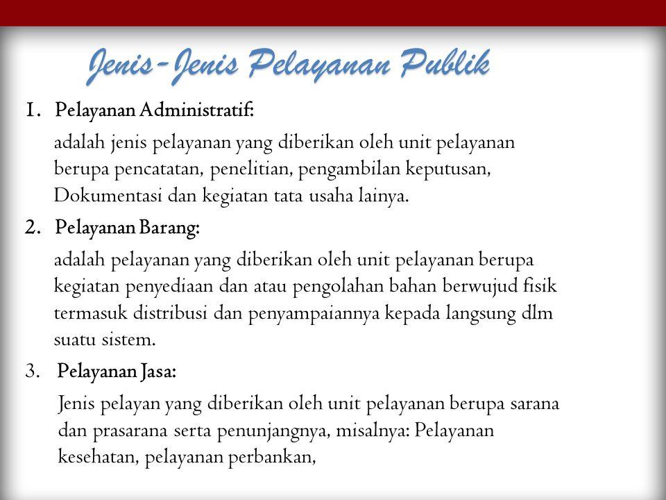 1. Pelayanan Administratif: adalah jenis pelayanan yang diberikan oleh unit pelayanan berupa pencatatan, penelitian, pengambilan keputusan, Dokumentas