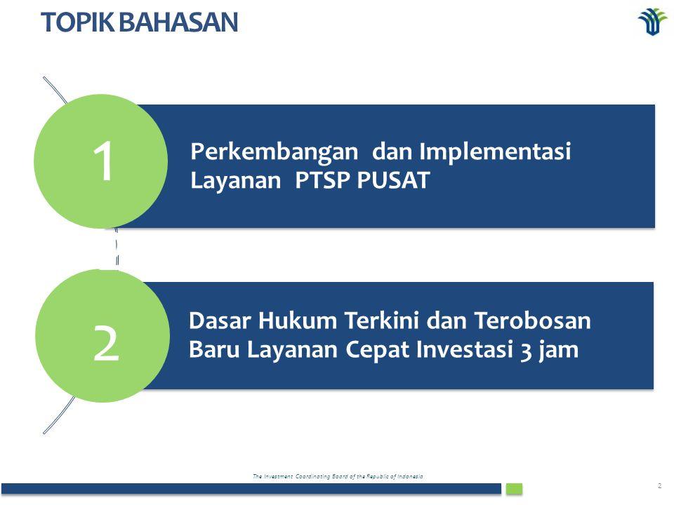 The Investment Coordinating Board of the Republic of Indonesia 2 Perkembangan dan Implementasi Layanan PTSP PUSAT Dasar Hukum Terkini dan Terobosan Baru Layanan Cepat Investasi 3 jam 1 TOPIK BAHASAN 2 2