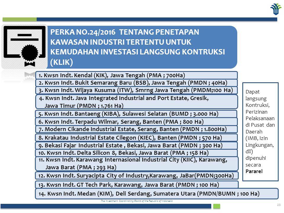 The Investment Coordinating Board of the Republic of Indonesia 23 PERKA NO.24/2016 TENTANG PENETAPAN KAWASAN INDUSTRI TERTENTU UNTUK KEMUDAHAN INVESTASI LANGSUNG KONTRUKSI (KLIK ) 1.